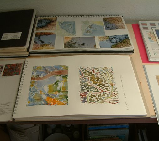 Suzanne Stuart Davies sketchbooks in studio